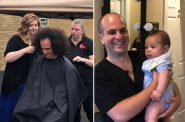 State Rep. Jonathan Brostoff before and after his hair cut fundraiser. Photos by Jeramey Jannene.
