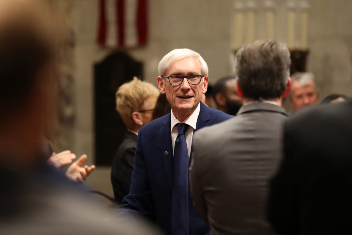 Gov. Tony Evers remains committed to cutting Wisconsin's prison population by 50 percent, but he says the process will be a long one. He is seen at his first State of the State address in Madison, Wis., at the State Capitol on Jan. 22. Photo by Emily Hamer/Wisconsin Watch.