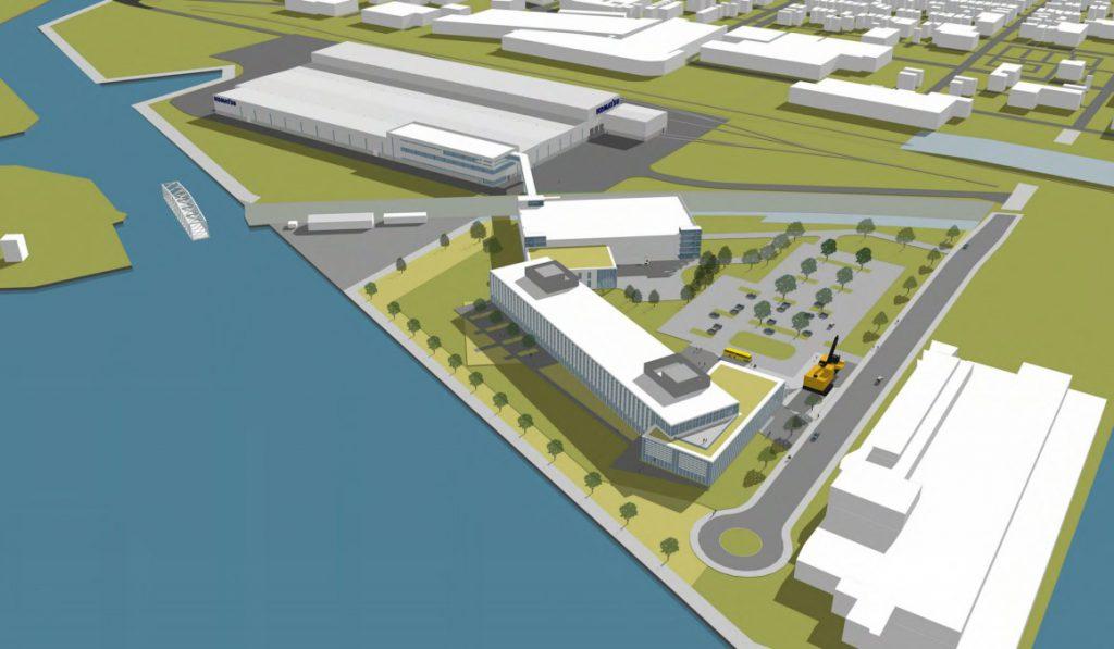 Komatsu South Harbor Campus rendering. Rendering by Eppstein Uhen Architects.