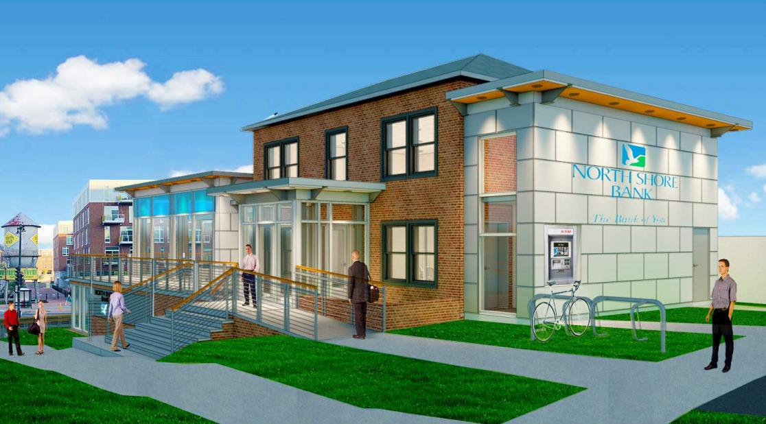 North Shore Bank downtown branch. Rendering by Plunkett Raysich Architects.