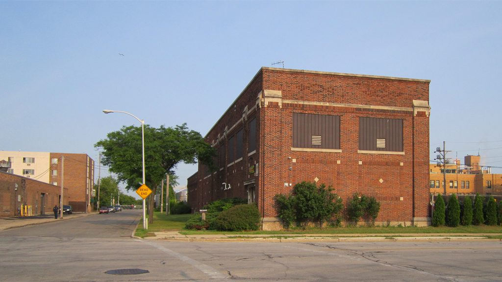 This former Milwaukee Electric Railway and Transportation Co. electrical substation still stands at the intersection of 36th and Wells. The road at left leads to the east end of the former viaduct. Photo courtesy of Carl A. Swanson.