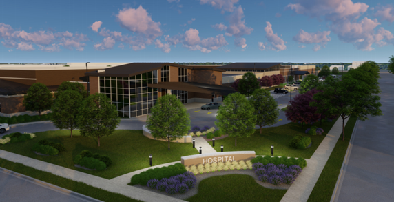 Behavioral health hospital rendering.