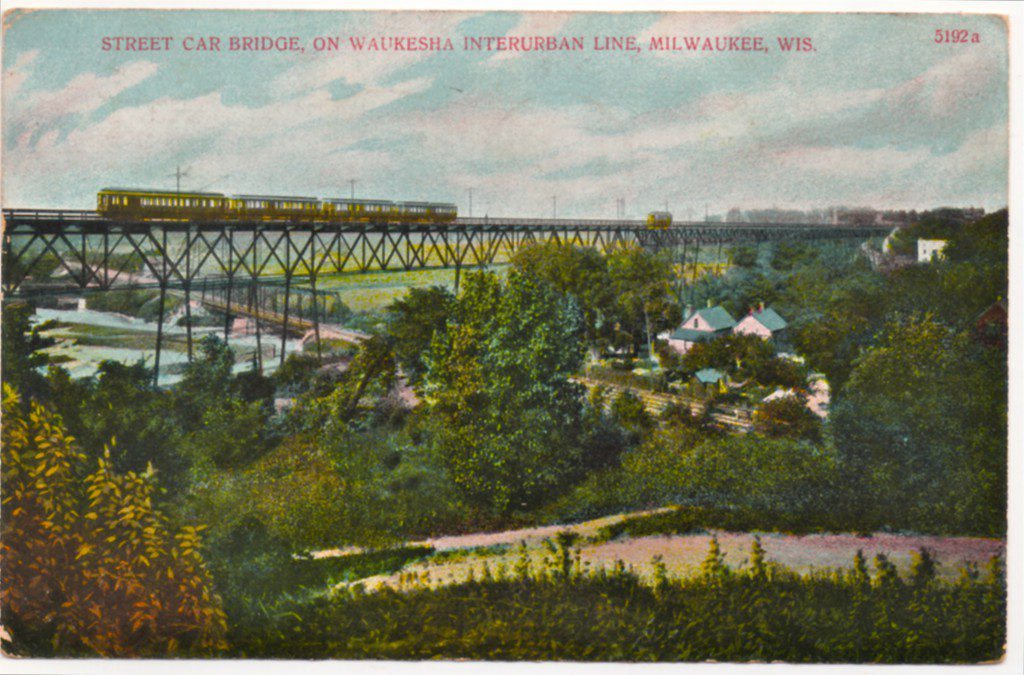 In this postcard view, a heavy four-car electric interurban train rolls across the Wells Street Viaduct in the early 1900s. Photo courtesy of Carl A. Swanson.