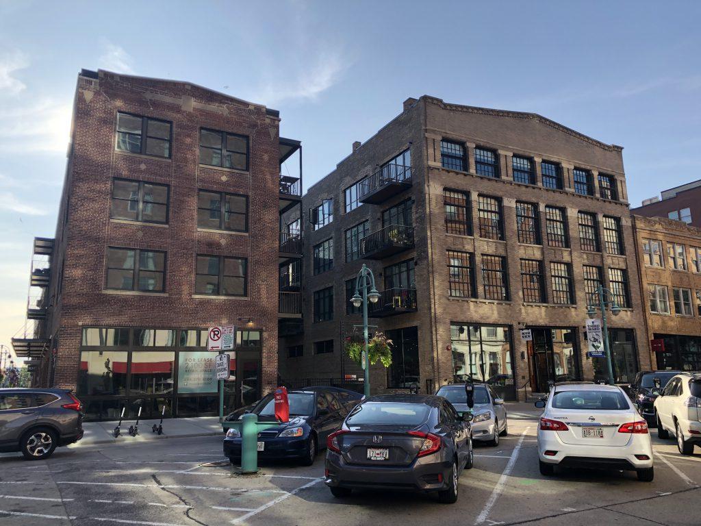 InterLace Lofts (left) along N. Broadway. Photo by Jeramey Jannene.