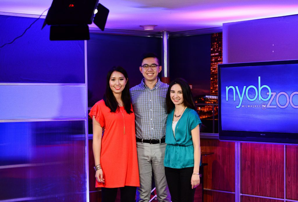 Medical College of Wisconsin students Jacey Sirinit (from left) James Wu and Mai'ana Feuerborn have created a monthly segment that deals with health in the Hmong community. Photo provided by Luyao Jiang/NNS.