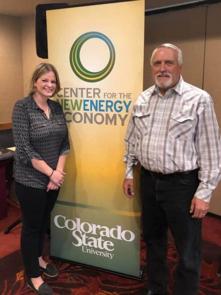 Rep. Katrina Shankland & former Colorado Gov. Bill Ritter at the 2019 Clean Energy Legislative Academy. Photo courtesy of the Wisconsin Examiner.