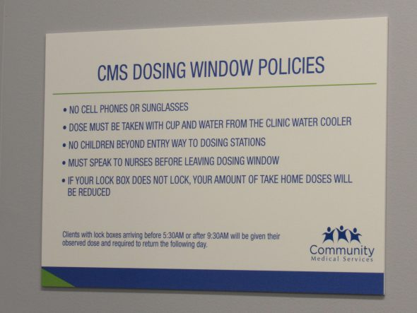 Rules hung near the dosing windows. Photo by Isiah Holmes/Wisconsin Examiner.