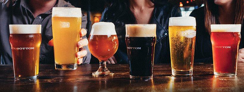 Beers by Rock Bottom Restaurant & Brewery.