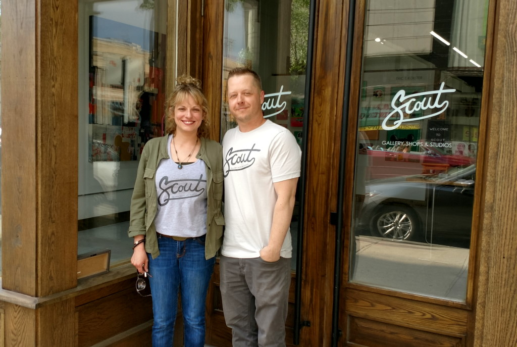 Jeff Redmon and his wife, Dana, outside of Scout Gallery. Photo by Jan Allen.