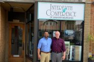 Pardeep Kaleka, left, the new executive director for the Interfaith Conference of Greater Milwaukee, with his predecessor, Tom Heinen. Photo courtesy of the Wisconsin Examiner.