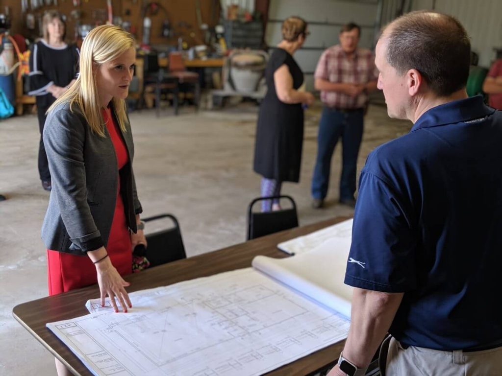 State Treasurer Sarah Godlewski learns about a BCPL-funded facility that will be built in Wood River. Photo courtesy of the Wisconsin Examiner.