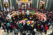 Voces de la Frontera rally at the Capitol supporting driver's licenses for all. Photo by Susan Ruggles from of Voces.