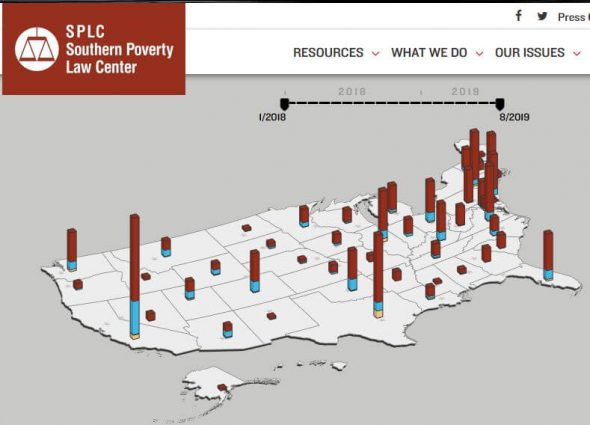 Map of White Supremacist Flyering from the Southern Poverty Law Center/