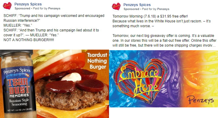 Penzey's Spices Facebook Ads.