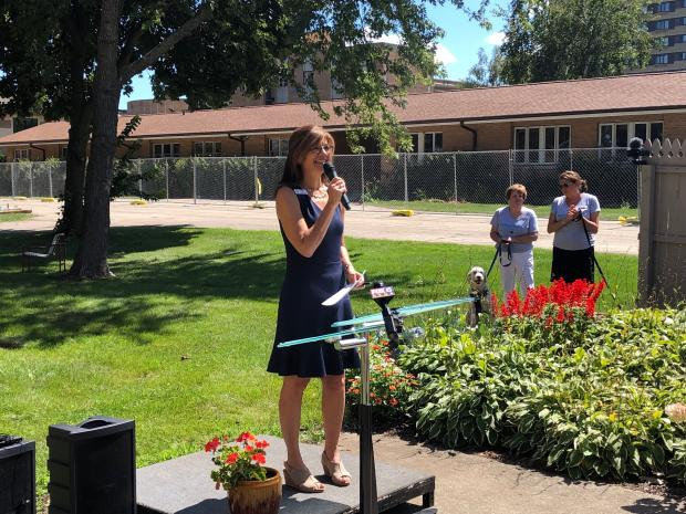 Patty Metropulos, Kathy's House president and CEO, at a fundraiser kickoff Tuesday, Aug. 27, 2019, at Kathy's House, 600 N. 103rd St., Wauwatosa. Corrinne Hess/WPR.