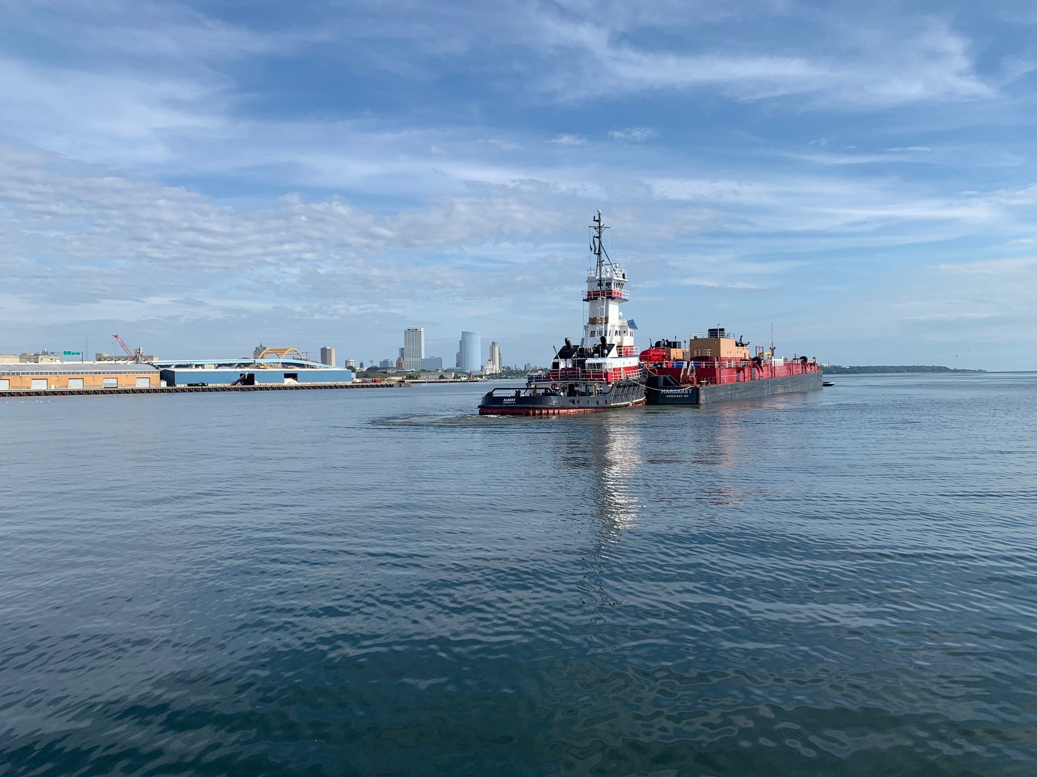 The tug/barge Albert/Margaret exports 20,000 tons of Wisconsin-produced ethanol from Port Milwaukee to Quebec on Sunday, August 11, 2019. Port Milwaukee's liquid bulk pier re-entered service in 2018 following a comprehensive refurbishment. Photo from the Port Milwaukee.