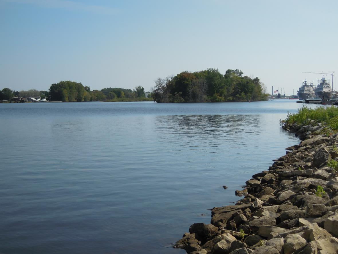 A view of the Menominee River by Marinette. Photo by Danielle Kaeding/WPR.