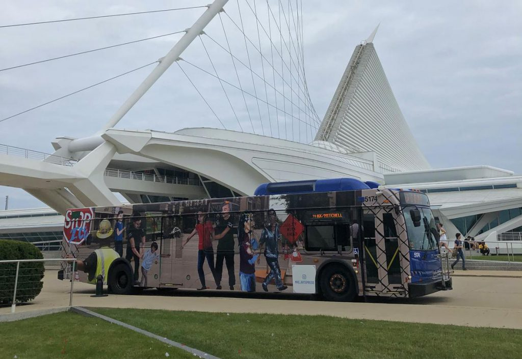 Every year Milwaukee's Art Museum and public transit system unveil a county bus mural created by Milwaukee students that brings awareness to a controversial issue. But this year's mural depicting ICE raids is drawing criticism. Photo courtesy of the Milwaukee Art Museum .