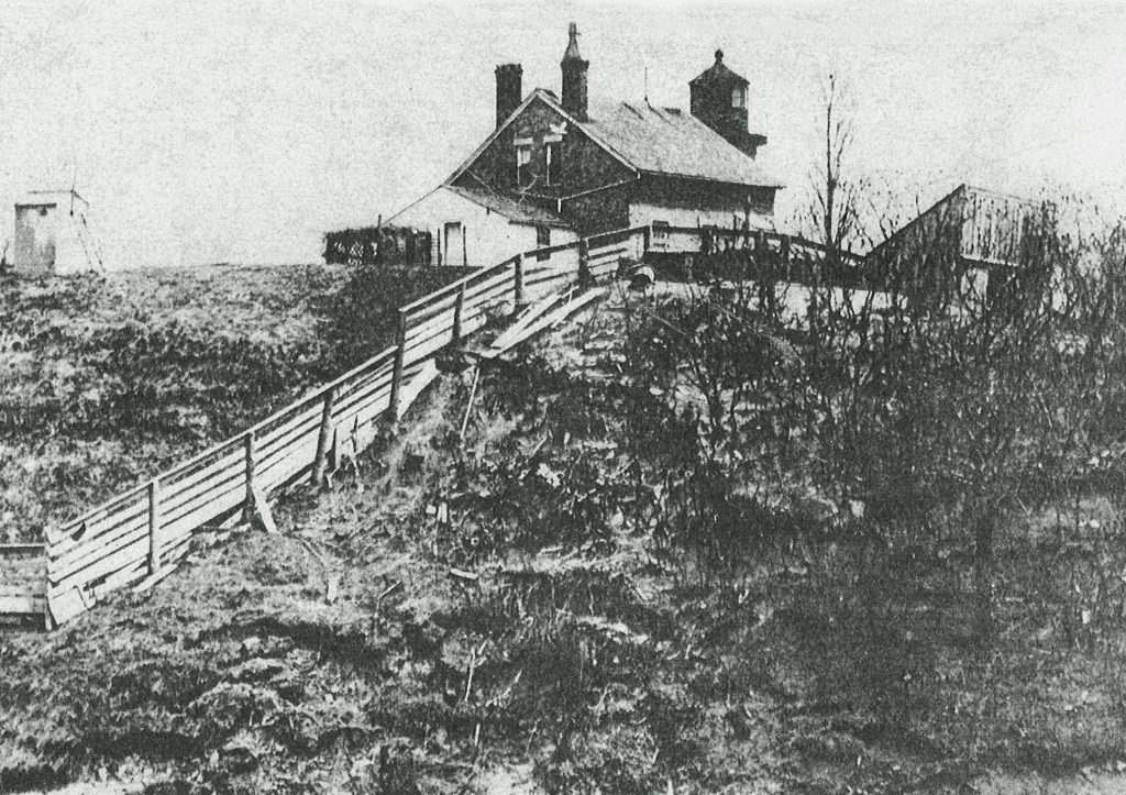 The original North Point Lighthouse looked like this when Georgia Stebbins arrived in 1874. Photo courtesy of the North Point Lighthouse Museum.