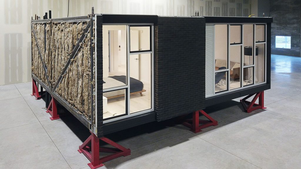 An affordable home module in Skender's factory. Photo from Skender.com