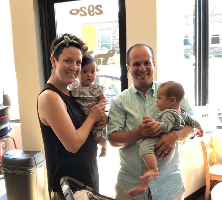 Marina and her baby Zoe, Jonathan and his baby Boaz. Photo courtesy of Marina for Milwaukee.