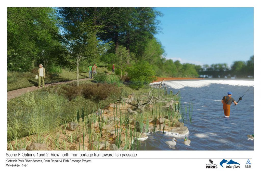 Scene F Options 1 and 2: View north from portage trail toward fish passage
