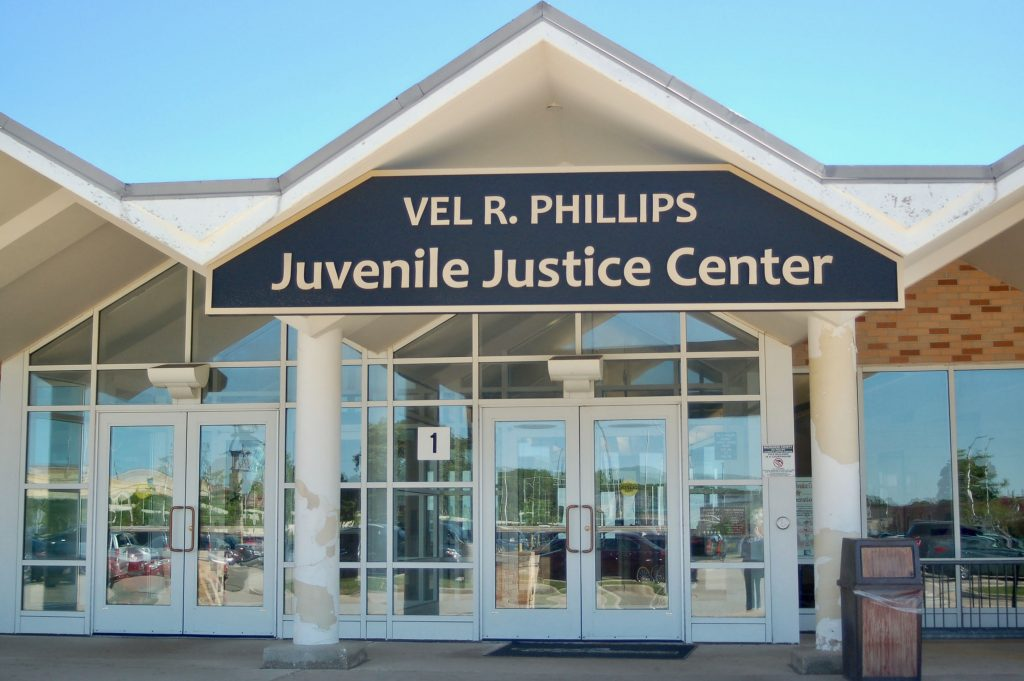 The Vel R. Phillips Juvenile Justice Center in Wauwatosa houses the Milwaukee County Children's Court, a detention facility and school for youth. Photo by Andrea Waxman/NNS.