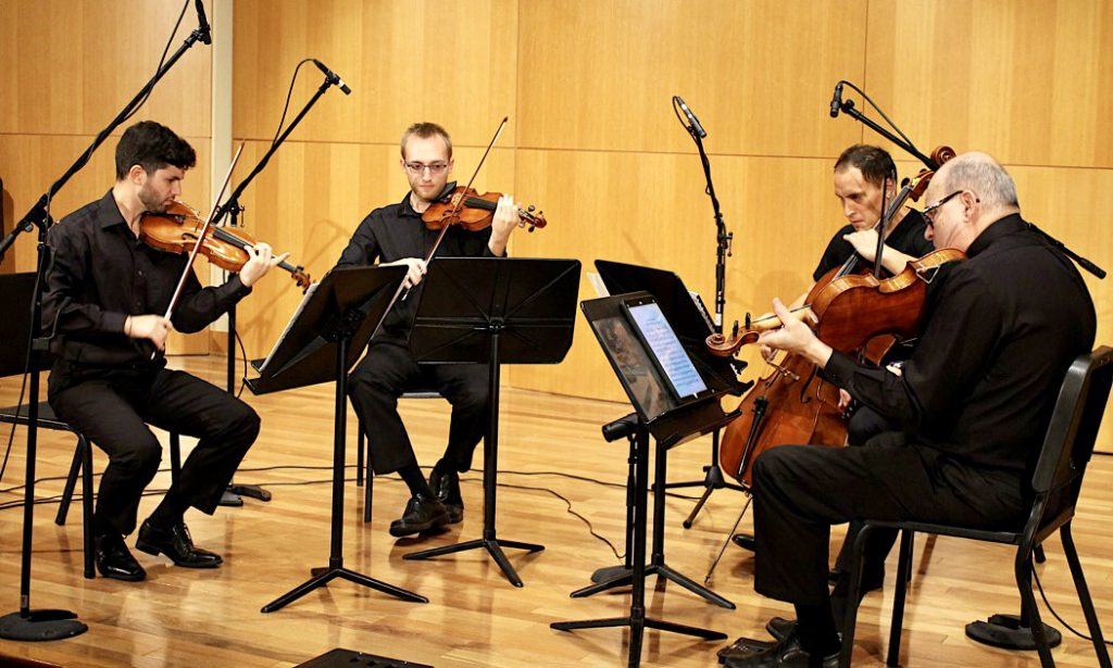 The 414 Quartet - (l to r) - Paul Hauer, Alex Ayers, Peter Thomas, and guest Lewis Rosove. Photo courtesy of Peter Thomas.