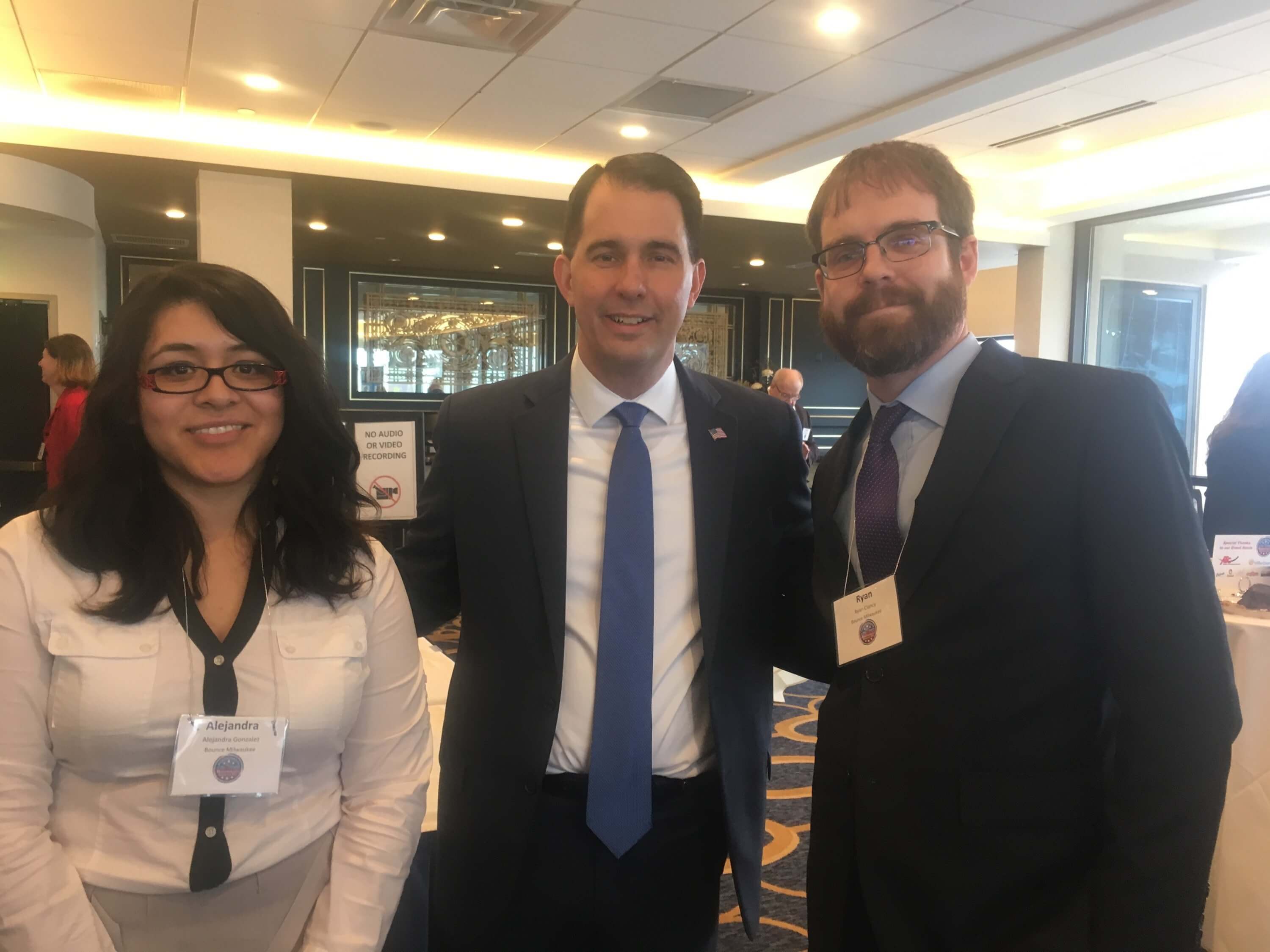 Ryan Clancy, right, with Gov. Scott Walker and Alejandra Gonzalez Aviña, left, at the time a manager for Clancy's business, during a Wisconsin Restaurant Association lobbying day in January 2018. Photo courtesy of Ryan Clancy.