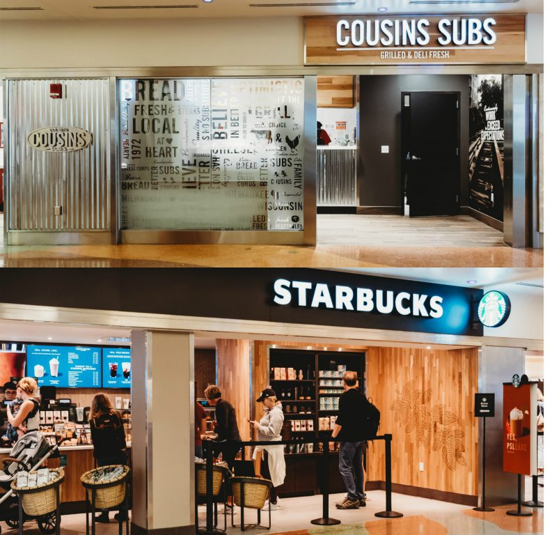 Cousins Subs®and Starbucks® Coffee. Photo courtesy of the Milwaukee Mitchell International Airport.