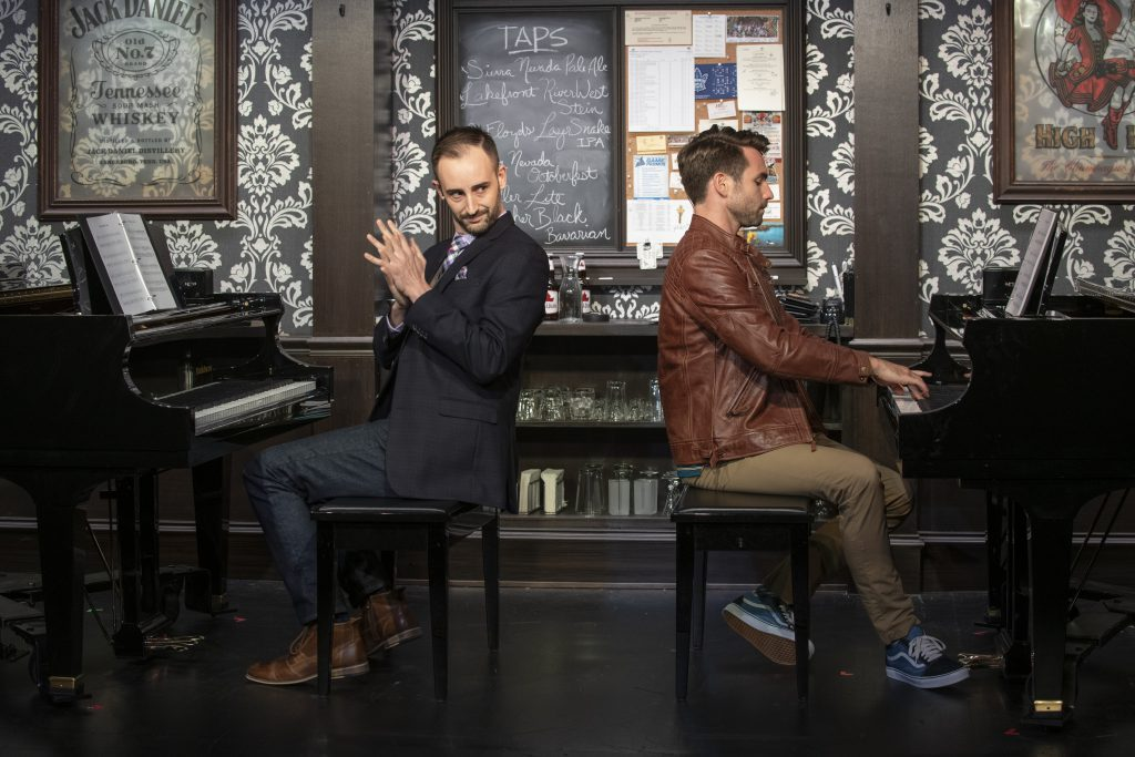 Milwaukee Repertory Theater presents 2 Pianos 4 Hands by Ted Dykstra and Richard Greenblatt in the Stackner Cabaret September 8 – November 3, 2019 featuring Joe Kinosian (left) and Ben Moss (right). Photo by Michael Brosilow.