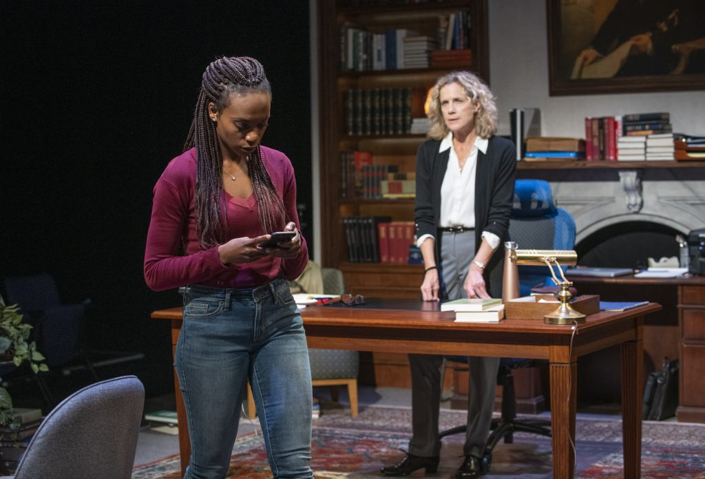 Milwaukee Repertory Theater presents The Niceties in the Stiemke Studio September 25 – November 3, 2019. Left to right: Kimber Sprawl and Kate Levy. Photo by Michael Brosilow.