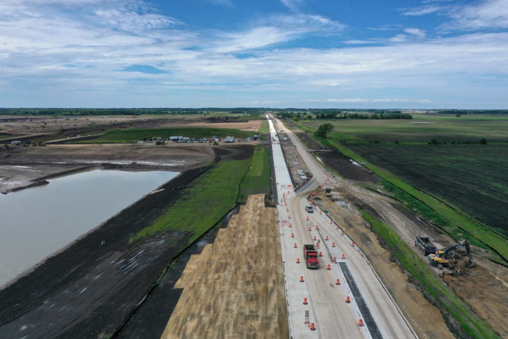The Foxconn site along Braun Road, in Mount Pleasant, Wis., is seen under construction on July 1, 2019. File photo by Coburn Dukehart/Wisconsin Watch.