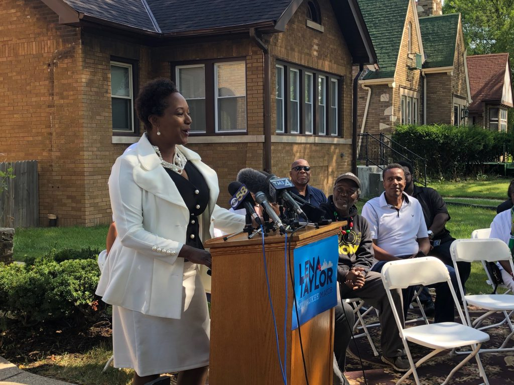 Senator Lena Taylor announces her run for Mayor. Photo by Jeramey Jannene.