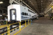 Commuter rail and subway cars awaiting refurbishment in Talgo's Milwaukee facility. Photo by Jeramey Jannene.