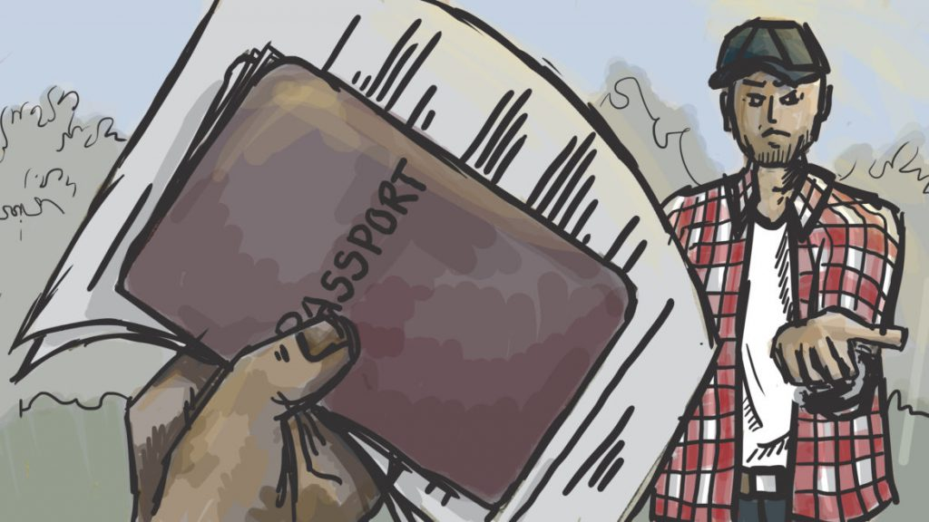 """The day you arrive, that's the same day they ask you for your passport. They take all of your personal documents,"" said ""Roberto,"" one of 14 men from Mexico who were alleged victims of labor trafficking at a southeastern Wisconsin farm. Illustration by Emily Shullaw for Wisconsin Watch."
