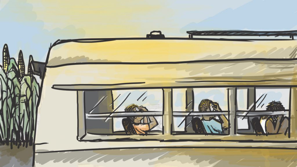 The men said if they felt ill from the heat or fainted, they were told to sit on a bus without pay. Family members of the labor contractor, Garcia & Sons, were charged in May with several labor trafficking counts in Georgia and Wisconsin. Illustration by Emily Shullaw for Wisconsin Watch.