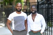 Seke Ballard, left, and Seun Adedeji, right, are cannabis entrepreneurs. They stand in front of Ballard's apartment in the Bronzeville neighborhood on the south side of Chicago on Aug. 9, 2019. Under Illinois' legalization of recreational cannabis, which takes effect Jan. 1, 2020, people harmed by past drug laws and poverty will have easier access to the industry. Marijuana has grown into a multi-billion-dollar business in states where it is legal for medical or recreational use. Both uses are illegal in Wisconsin. Photo by Parker Schorr/Wisconsin Watch.