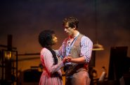 (l. to r.) Brittani Moore (Laurey Williams) and Lucas Pastrana (Curly McLain) in Skylight Music Theatre's production of Oklahoma! September 27 – October 13. Photo by Mark Frohna.