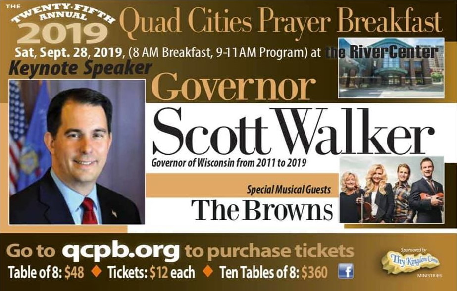 Facebook event advertisement for Quad Cities Prayer Breakfast with Scott Walker.