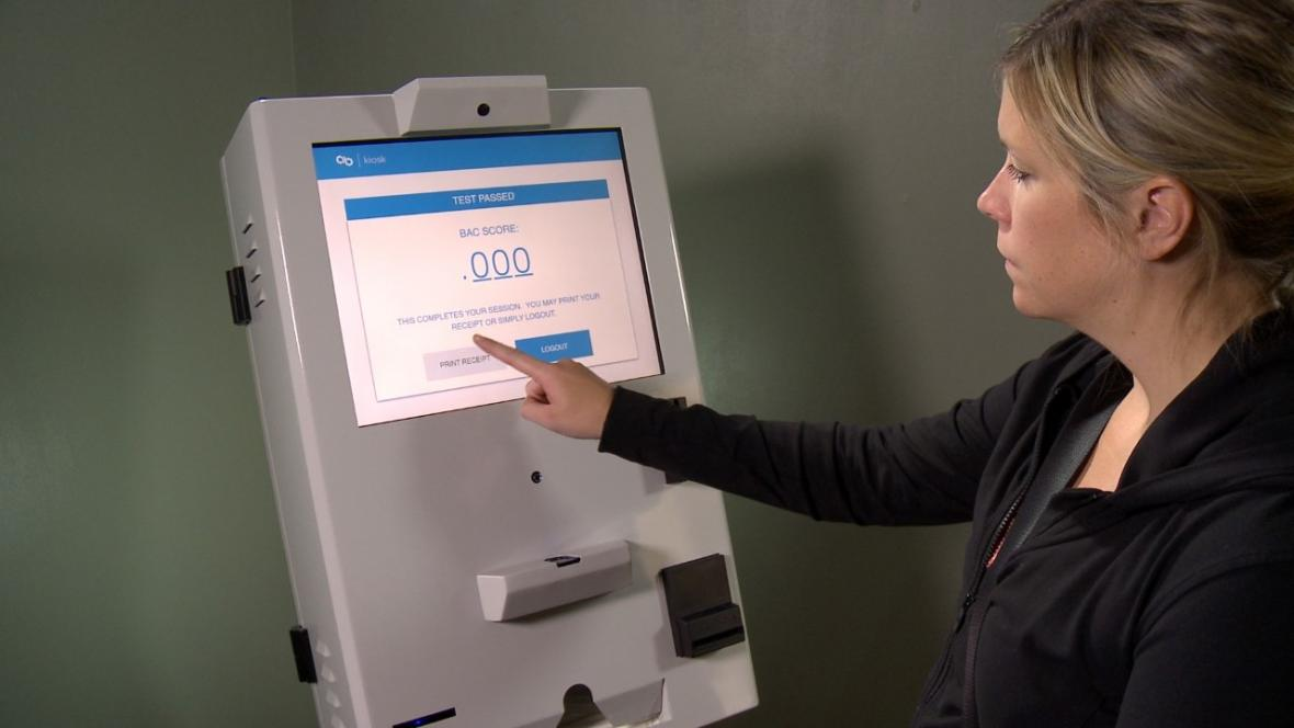 The kiosks allow people to take tests without supervision, which county officials say saves staff time. Photo courtesy of Precision Kiosk Technologies.