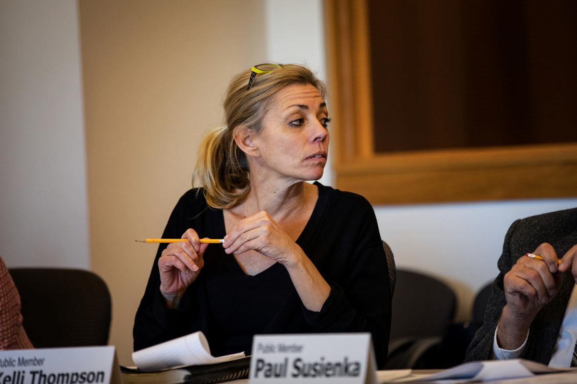 """State Public Defender Kelli Thompson is seen at the Oct. 16, 2018, meeting of the Legislative Study Committee on Bail and Conditions of Pretrial Release. At a December 2018 meeting, Thompson, a member of the committee, remarked, """"We have people every single day that are being put in custody on high cash bail based on poverty alone."""" Photo by Emily Hamer/Wisconsin Center for Investigative Journalism."""