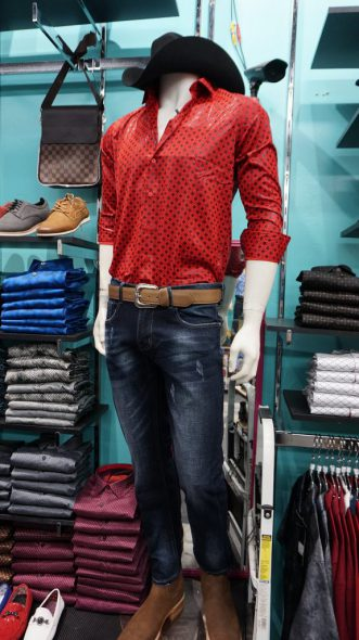 El Tianguis VIP specializes in men's clothing that merges urban cowboy and casual styles. (Photo by Andrea Waxman)