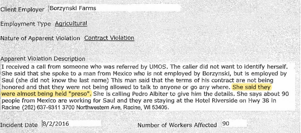 """This tip about farm laborers at Borzynski Farms being held """"preso,"""" Spanish for prisoners, was received in 2016 by the state Department of Workforce Development. DWD's investigation did not uncover labor trafficking, but a federal investigation resulted in criminal charges against five people associated with the farm labor contractor who hired the workers. Yellow highlighting added by Wisconsin Watch. Image from the Wisconsin Department of Workforce Development."""