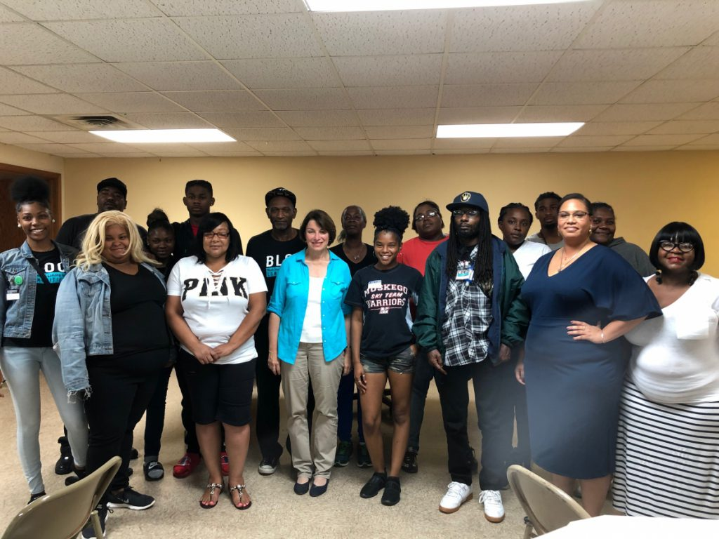 U.S. Sen. Amy Klobuchar met on Thursday with members of Black Leaders Organizing Communities (BLOC) at Redemption Fellowship Church on the north side of Milwaukee. Photo by Alana Watson/WPR.