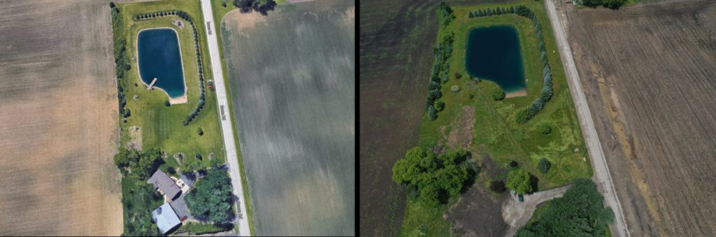 "On the left is the Mueller family home at 9725 Braun Road in Sturtevant, Wis., and on the right is the vacant lot where their home once stood. Their house was demolished to make way for road improvements related to the Foxconn project. Wisconsin Public Radio has learned that the road widening had been scuttled even before they were told by the village of Mount Pleasant that they needed to move. ""I wouldn't wish this upon anybody,"" Joy Mueller says. ""They (village officials) bring the word 'snake' to a new level for me."" Drone photo (right) taken July 1, 2019. Left: Google Maps. Right: Coburn Dukehart / Wisconsin Watch."