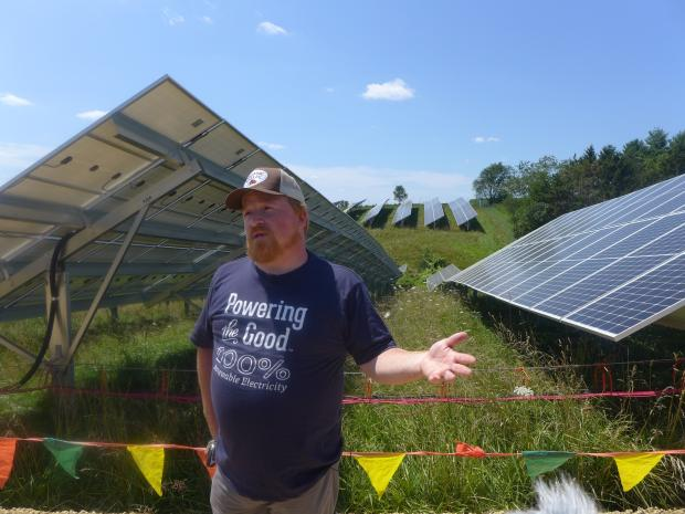 Stanley Minnick, from Organic Valley, said partnership with local communities were essential to building 10 new solar projects like the one in like Cashton. Hope Kirwan/WPR.