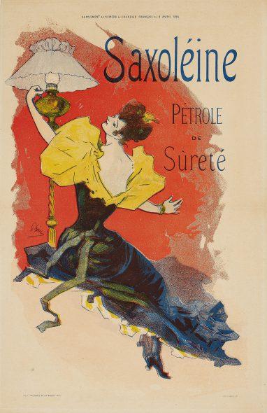 Jules Chéret, Supplément au numéro du Courrier français: Saxoléine, 1894. Color lithograph. Promised gift of James and Susee Wiechmann, TR2016.5.149. Photo by John R. Glembin.