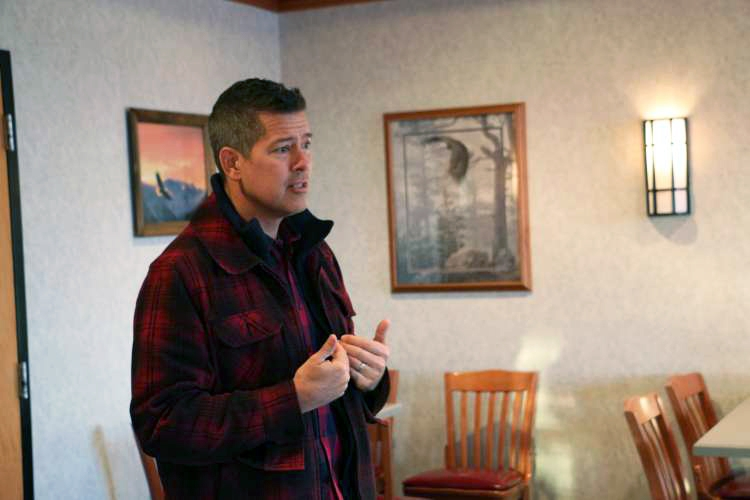 Sean Duffy addresses supporters at a 2018 town hall meeting at the Abbyland Travel Center in Curtiss, Wisconsin. Rich Kremer/WPR.