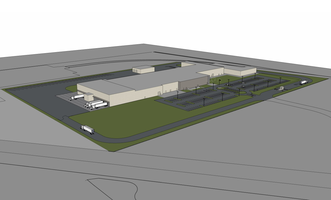 Strauss Brands facility rendering. Rendering by ESI Design Services.